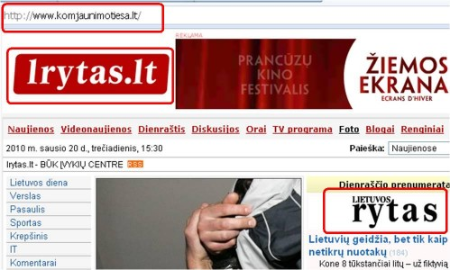 lrytas.lt pirmas puslapis, atsidaręs naršyklėje surinkus domeną www.komjaunimotiesa.lt .