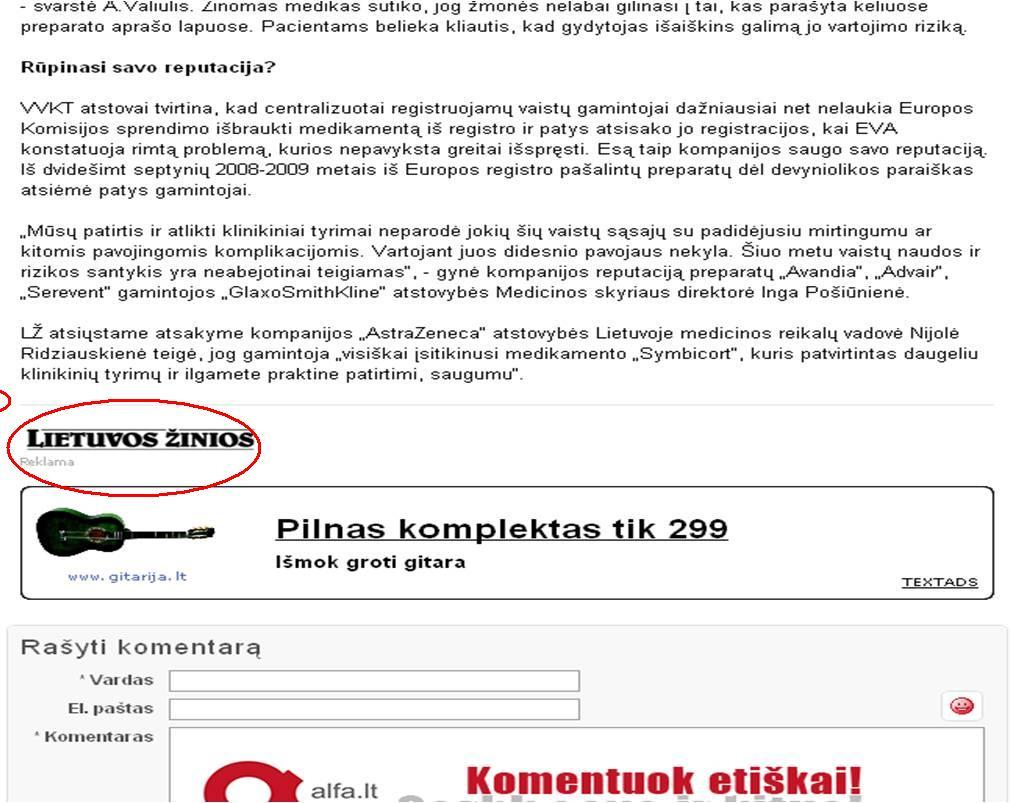 """Dienraščio """"Lietuvos žinios"""" tekstas Alfa svetainėje virsta reklaminiu pranešimu"""